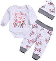 i-Auto Time Newborn Baby Girls Clothes Auntie's Bestie Romper+Floral Pants+Hat Out