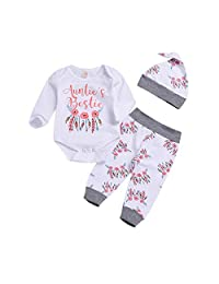 i-Auto Time Newborn Baby Girls Clothes Auntie's Bestie Romper+Floral Pants+Hat Outfits