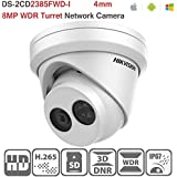 Hikvision 8MP Dome IP Camera DS-2CD2385FWD-I 4mm Network Turret H.265 PoE IP67 Network Camera ONVIF English Version with SD Card Slot