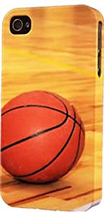 Basketball On Hardwood Court Plastic Snap On Flexible Decorative Apple iPhone 5/5s Case by lolosakes