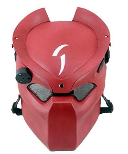 Lone Wolf Mask (Myheartgoon Lone Wolf Mask Airsoft Cs Wargame Field Full Head Mask Hunting Biker Ski Protect Gear Mask Guard Horror Masks (red))