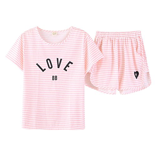 Jashe Tween/Teen Girl Stripe 2-Piece Cotton PJS Top& Shorts Summer Pajama Set Big Girls, White, 18 -