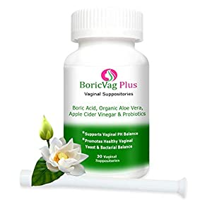 Boric Acid Vaginal Suppositories - 30 Counts - with Aloe Vera, Apple Cider Vinegar and Probiotics - Applicator Included - Made in USA (BoricVag Plus)