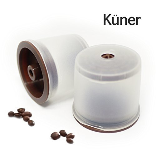 Kuner illy Compatible Refillable Capsules 2counts Reusable .Filters with All illy Coffee Machine 2 Counts