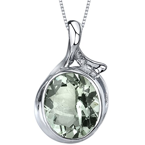 Boldly Colorful 4.00 carats Oval Cut Sterling Silver Rhodium Nickel Finish Green Amethyst Pendant