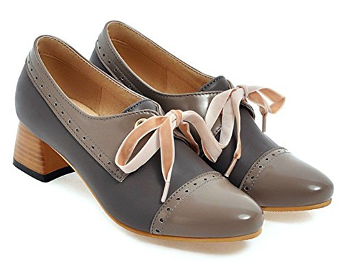 IDIFU Womens Formal Round Toe Low Cut Lace Up Chunky Mid Heeled Low Top Pumps Shoes Gray 5yHhbHKwmm