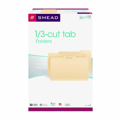 Smead File Folder, 1/3-Cut Tab,  Legal Size, Manila, 100 Per Box -
