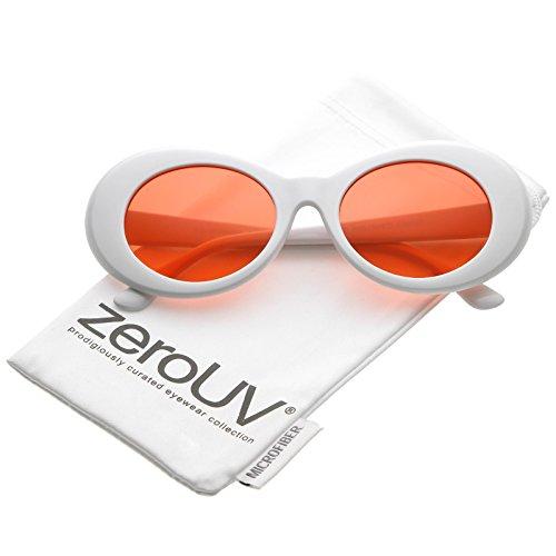 zeroUV - Retro Tapered Arms Colored Lens Oval Sunglasses 50mm (White / - Mckinley Sunglasses