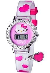 Hello Kitty Silver Tone Digital Heart Charm Watch - Kids