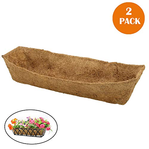 - 24 inch Coco Liner for planters Replacement Liner Rectangle Basket -2pcs