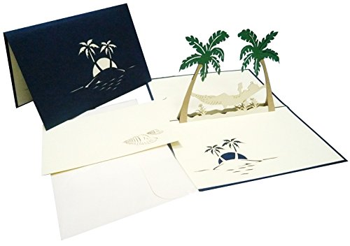 LIN – Pop Up 3D Greeting Card, Hammock and palm trees, handmade, (121)