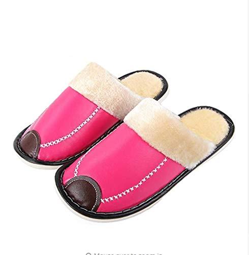Pantouflas Chaussures Pu Black En Intérieur Cuir Chaussons Pantoufles Maison Hiver Warm New Femmes Marque Antidérapante Hommes Nsbm Chaussure PCd1BqwB