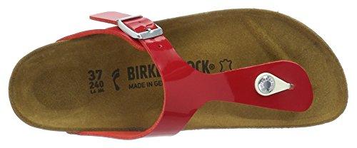 Birkenstock Gizeh Birko-Flor, Infradito Donna, Rosso (Vernis Tango Red), 39