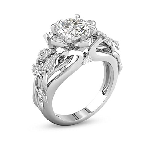 Thin Carved (TEMEGO Women's Bloom Vintage Carved Rose Flower Vine Leaf Round Cut Created Diamond Filled CZ Cluster Elegant Silver White Gold Plated Wedding Rings)