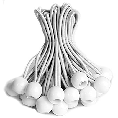 eHomeA2Z Ball Bungee White Heavy Duty 25 Pack Weather Resistant 5mm Thick for Camping Tarp Cargo Tent (25, 6-inch)