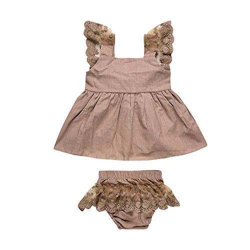 2Pcs Baby Girls Ruffles Lace Backless Dress with Bottom Shorts Jumper Party Skirt Sundress Set (12-18Months, Khaki)