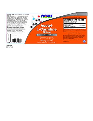 Now Foods Acetyl-L Carnitine 500 mg - 100 Vcaps 12 Pack