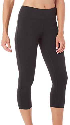 Gaiam Om Yoga Capri Womens Performance Basic Long Compression Legging – Black Tap, Large