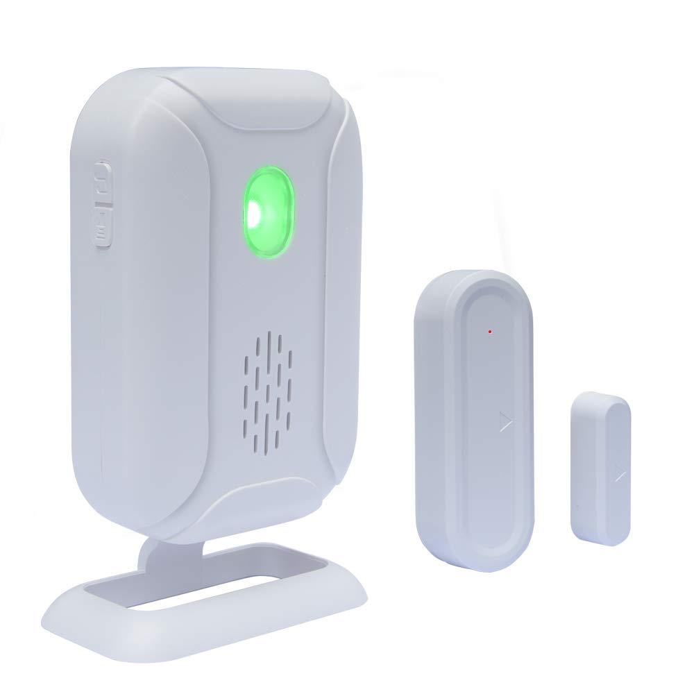 WiHoo Wireless Door Open Chime, Home Security Sensors Expandable Alarm doorbell (Operating Range - 900FT/36 Chime Tunes /4 Volume Levels/LED Flashing Light) - 1 Magnetic Door Alarm Sensor, 1 Receiver