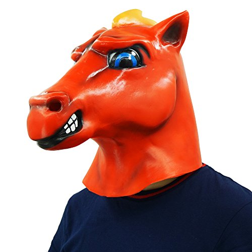 Red Horse Head Mask Animal Party Helmet Cosplay Halloween Props by Lucky Lian (Image #3)