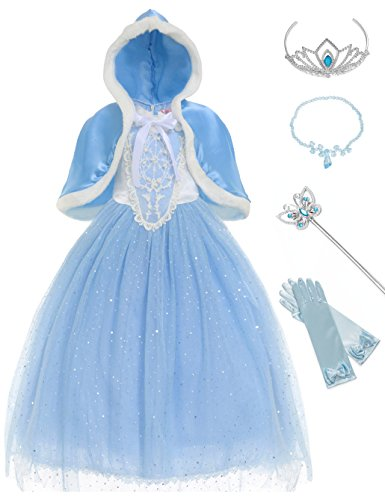 MUABABY Girls Sparkle Sequin Princess Dress Costume (5-6