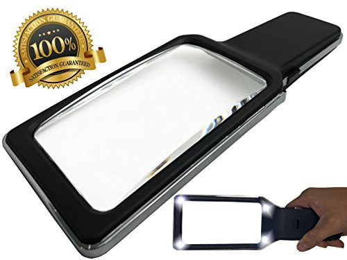 Magnifier Reader (MagniPros 3X Large Ultra Bright Handheld Magnifying Glass with 4 Built-in LED Lights(Provides Evenly Lit Viewing Area)-Wide Horizontal Magnifying Lens-Ideal For Small Prints, Low Vision, Books &)