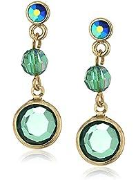 Gold-Tone Emerald Green Color AB Drop Earrings