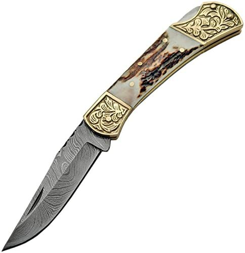 SZCO Supplies DM-1163 Damascus Steel Fancy Folding Knife with Stag Handle Damascus Steel Knife