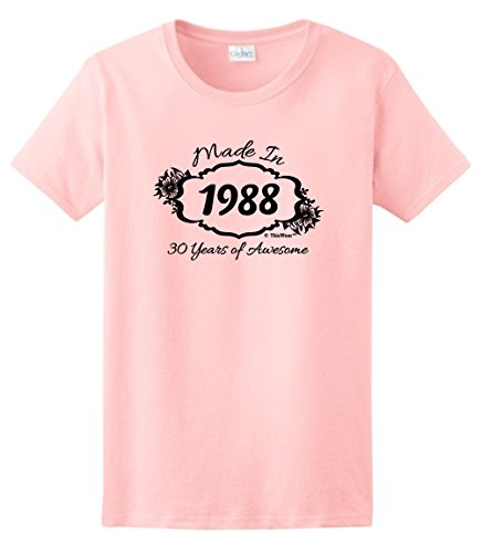 30th Birthday Gift Made 1988 30 Years Awesome Ladies T-Shirt Large Light (Awesome Womens Light T-shirt)