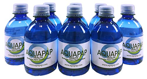 AQUAPAP Health CPAP Water Vapor Distilled 8 Pack of 8oz Bottles (Nets Water Bottle)