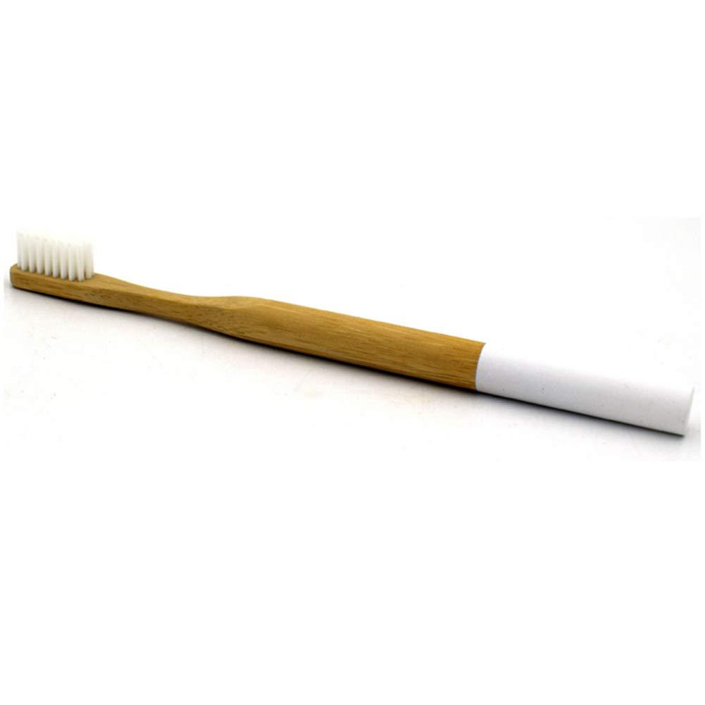 GEZICHTA Cepillo de Dientes de bambú, desechable, ecológico, Biodegradable, Mango de bambú y cerdas de Nailon sin BPA, Cepillo de Dientes para el Cuidado ...