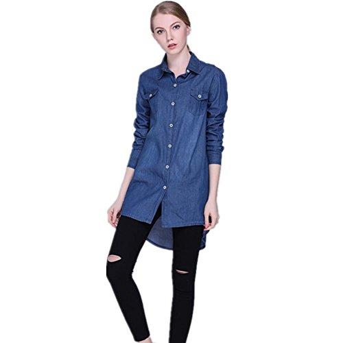 SHISHANG camisa de algodón de las mujeres de Europa y los Estados Unidos mujeres de manga larga fina delgada chaqueta de mezclilla primavera y el verano la luz chaqueta de punto azul y azul oscuro deep blue