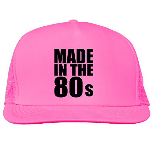 Made in the 80s Bright neon truckers mesh snap back hat in Neon Pink - One Size
