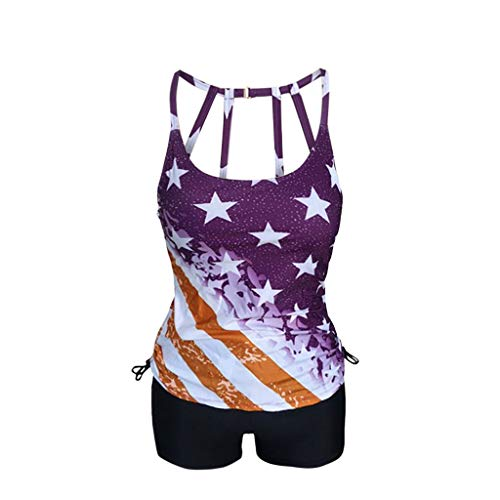 Waffle Knit Striped Hoodie - RAINED-Women's Sexy Two Piece Tankini for Independence Day American Flag Swimsuit Backless Swimwear with Boyshort Purple
