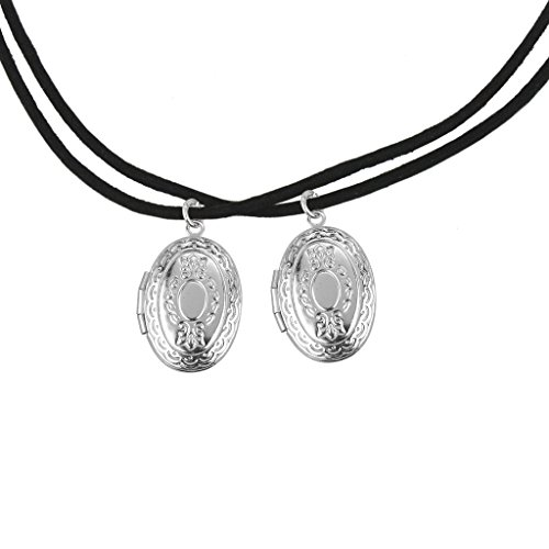 Lux Accessories Matching Picture Lockets BFF Best Friends Forever Pendant Rope Necklace (2 PC).