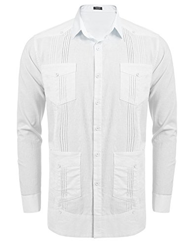 - COOFANDY Men's Long-Sleeve Guayabera Cuban Shirt Casual Button Down Cotton Linen Shirt,White,XX-Large