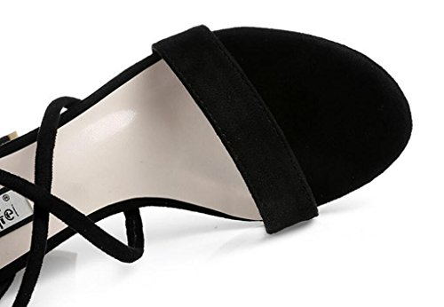 SHFANG Sandalias de las señoras Talón áspero del verano Velcro Talón de la cruz Vendaje cruzado Partido cómodo de las compras Desnudo negro los 7cm Black
