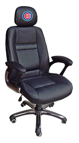 MLB Chicago Cubs Leather Office Chair - Chicago Cubs Black Leather