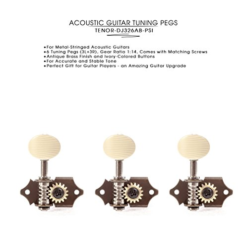DJ326AB-PSI TENOR Acoustic Guitar Tuners, Tuning Key Pegs/Machine Heads for Acoustic Guitar with Antique Brass Finish and Ivory Colored (Antique Guitars)