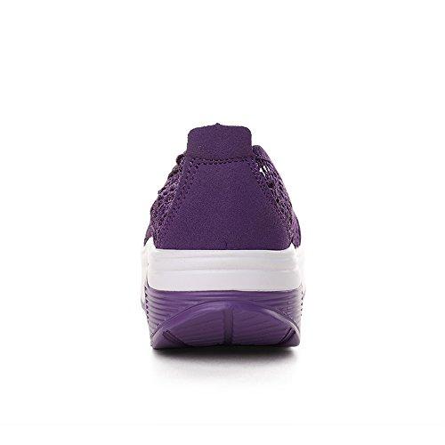 Purple Fitness Up 9001 Shoes Shape Lightweight EnllerviiD Slip 1 Sneakers Women On Platform Walking xpxqR1S