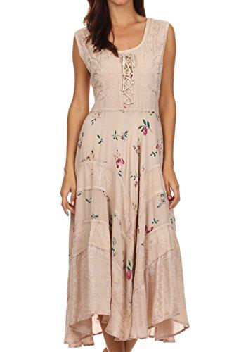 Sakkas 22311 Garden Goddess Corset Style Dress - Beige - L/XL