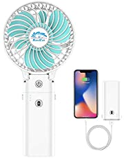 HandFan Handheld Portable Fan Foldable Desktop Fan USB Rechargeable Fan Battery Operated Fan with 5200mAh Power Bank Function Mini Electric Personal Fan for Office/Home/Outdoor/Camping/Stroller