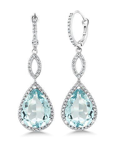 - Gem Stone King 19.45 Ct Pear Shape Blue Simulated Aquamarine 925 Sterling Silver Dangle Earrings