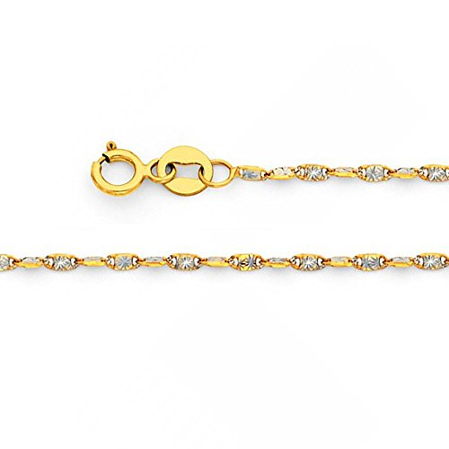 (American Set Co. 14k Solid Two Tone Gold 1.4mm Twist Snail Star Diamond Cut Chain Necklace with Spring Ring Clasp - 18