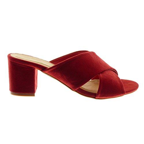 Femme Slip Talon Chaussure 7 cm Mule Haut on Lanière Rouge Sandale Bloc Angkorly Mode gYUw8Ix