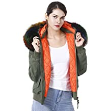 S.ROMZA Womens Quilted Zip Bomber Jacket Faux Fur Trim Detachable Warm Hooded Coat