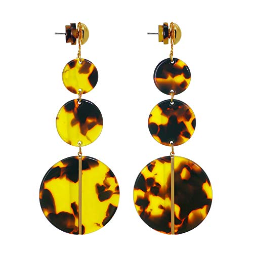 (Tortoise Dangling Earrings for Women- Bohemian Statement Acrylic Colored Hoop Earrings (Tortoise Shell))