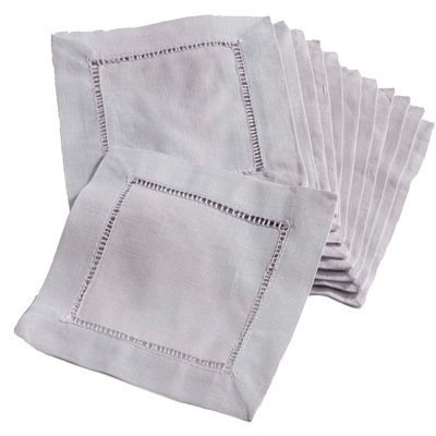 12 Piece Grey Square Napkin, Coasters Hemstitched cocktail, Cotton Linen Material, Abstract Casual Classic Contemporary Country Formal Novelty Patterned Traditional Transitional Vintage