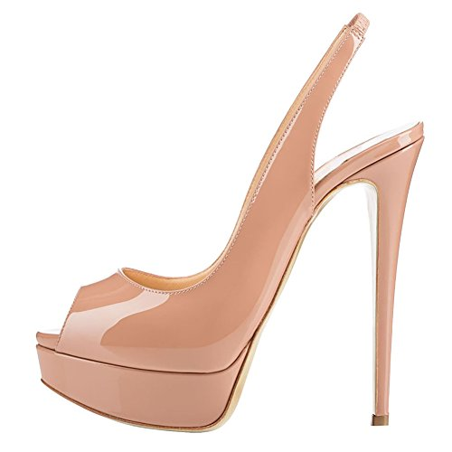 MERUMOTE Women's Slingbacks Peep Toe High Heels Shoes Platform Pumps Nude 6US ()