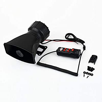 Loud Horn 12V Car Siren Auto Van Truck PA System 60W Max 300dB 5 Sounds Tone Long Life Time ABS Plastic Auto Horn